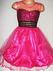 GIRLS BRIGHT PINK SPARKLY SEQUIN SATIN TULLE PRINCESS PAGEANT PROM PARTY DRESS