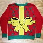 Super Ugly Christmas Sweater New! Funny Big Ribbon Bow