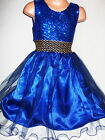 GIRLS ROYAL BLUE SPARKLY SEQUIN TULLE PRINCESS EVENING PROM PARTY GOWN DRESS