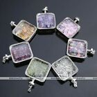 1x Natural Gemstone Crystal Glass Lucky Wish Box Square Chip Charm Beads Pendant