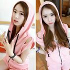 Athletic Zip Up Hooded Top Shorts Pockets Women's Tracksuit Sportwear Sweat Suit