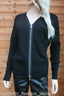 Karen Millen Black Biker Wool Zip Boyfriend Dress Cardigan Knit Jacket 8 - 12
