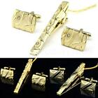 Man Dress Shirt Necktie Tie Bar Clasp Gold Clip Pin Cufflinks Set Party HYSG