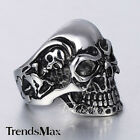 Punk Gothic Big Skull Skeleton Black Silver Tone 316L Stainless Steel Mens Ring