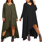 Plus Size Women Clothing Lady Sexy Loose V Neck Long Sleeve Irregular Dress Club