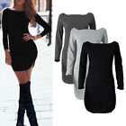 Womens Bodycon Long Sleeve Dress Ladies Party Evening Mini Dress Size S - XL TY