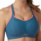 Panache Sports Bra Wire Free 83% Less Bounce 28-40 B-H Blue Grey/Coral  7341