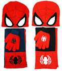 Boys Spiderman Face Spidey Beanie Knit Hat Scarf & Gloves Set 3 to 12 Years