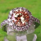 Cocktail Gifts Round Cut Morganite White Topaz Gemstone Silver Ring Size 6 7 8 9