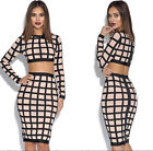 Sexy Women Two Piece Bodycon Dress Crop Top and Skirt Cocktail Club Party new