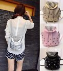 Women's New Korean Mini Rivet Travel Backpack Casual Leather Handbag Bucket Bags