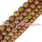 Round Brown Metallic Coated Druzy Agate Onyx Gemstone Spacer Beads Strand 15""