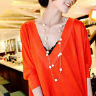 Women Gold Silver MultiLayer Long Pearl Necklace Pendant Girls Sweater Chain New