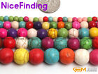 "Hot Round Multi Color Howlite Turquoise Beads For Jewelry Making Gemstone 15""DIY"