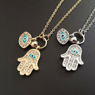 1 Pcs Fatima Palm Chain Blue Evil Eye Punk Necklaces Pendant Jewelry 2 Colors JR