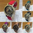Fashion Musical Notes Womens Leather Band Quartz Wrist Watch Hollow Retro Unisex
