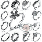 Genuine Sterling CZ Crystal Silver Ring For Wedding Party European Jewelry Lot