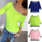 European Womens Sexy Long Sleeve Cotton Casual Loose Blouse Tops T-Shirt RD