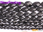 Hot Oval Faceted Natural Black Agate Onyx Beads For Jewelry Making Gemstone 15""