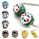 1pc Lampwork Glass Drum Face Flower Charm European Beads Jewellery Findings