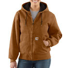 Women's WJ130 Carhartt Sandstone Active Jac/Quilted Flannel with Hood