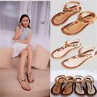 Summer Women Bohemian Beaded T-Strap Sandals Flat Shoes Thongs Flip Flops - LD