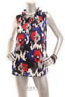 NEW NINE WEST Women Sleeveless Satin Ruffle Neck Cami Top Blue Red Black White L