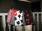 New Black red white grey floral cherry check Pleated Party Skirt Goth Rock Gift