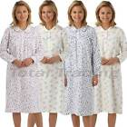Ladies Nightdress Flannel brushed 100% Cotton Nightie Long Sleeve  Winceyette