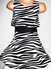 GIRLS 50s STYLE BLACK & WHITE ZEBRA PRINT SWING TOP LAYER FLARED PARTY DRESS