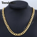 "3/5/7/9/11mm MENS Chain Boy Gold Tone Curb Link Stainless Steel Necklace 18""-36"""