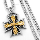 """5mm Men Curb Chain Maltese Gold Cross Stainless Steel Pendant Necklace 18-36"""""""