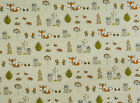 Fryetts Woodland Fox Owls Trees Cotton Fabric Curtains Upholstery Quilting Craft
