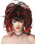 EVIL SORCERESS RED AND BLACK WIG Costume Halloween Fancy Dress Up Cosplay H4
