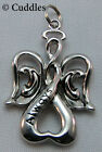 Angel Always in My Heart Charm Necklace Always Wings Halo Silver Look NEW