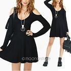 Women Sexy Low Round Neck Strapless Off Shoulder Long Sleeve Solid Dress Black