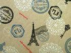 "4 Metres ""Paris"" Natural Linen Fabric - Curtain Craft Quilting Roman Blinds"