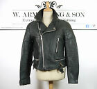 Men's Punk Black REAL LEATHER Biker Motorcycle Padded Racing Sports Jacket M