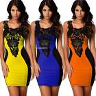 Women Lace Leather Bodycon Cocktail Evening Pencil Dress Short Mini Dress B20E