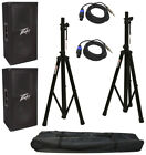"(2) Peavey Pv112 Pro DJ 12"" 800W Passive Speakers Stands Speakon To 1 4"" Cables"