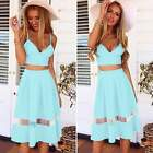 New Sexy Women's Two Piece 2 Bralet Bustier Bra Crop Top Party Lace Dress Skirts