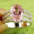 Oval Cut Pink & White Topaz Gemstone Silver Ring Size 8 Women's Fashion Jewelry