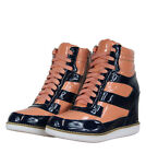 Jeffrey Campbell Napoles Womens Leather Wedge Sneakers Navy-Pink