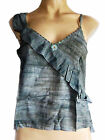 Sleeveles top with beading, UK size 12/14, grey, Double Duck label, summer new