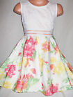 GIRLS WHITE LACE CORAL YELLOW FLORAL PRINT BOW TRIM OCCASION PROM PARTY DRESS