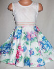 GIRLS WHITE LACE BLUE PINK FLORAL PRINT BOW TRIM OCCASION PROM PARTY DRESS