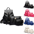 Women Fashion Embossing Grain Double Pockets Double-shoulder 3-PiecePU Backpack