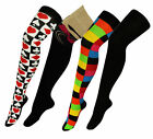 Ladies OVER KNEE Thigh High Long  Socks Heart Diamond  Multi - Black