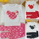 2pcs Baby Kids Girls Minnie Mouse T-shirt Tops Polka Dots Pants Suit Outfits