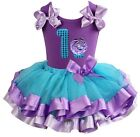 Blue Purple Satin Trimmed Tutu 1st Cupcake Birthday Party Dress